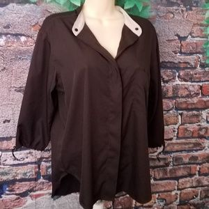 Brown Elbow Drawstring Sleeves Button Down Blouse
